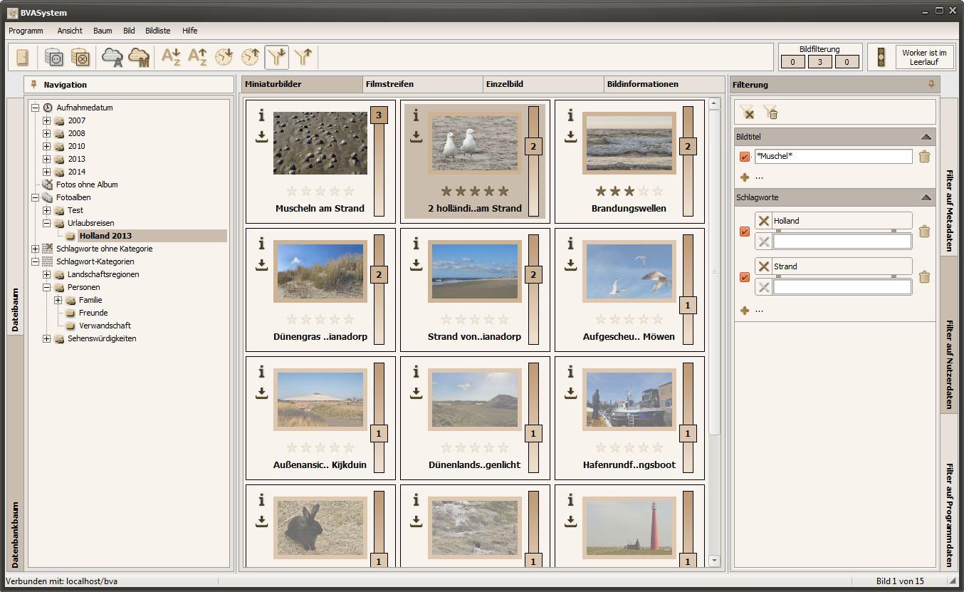 BVASystem 2.2.0 - Miniaturbilder mit aktivierter Bildfilterung