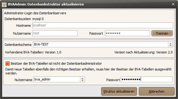 BVAAdmin: Datenbankstruktur-Aktualisierung starten
