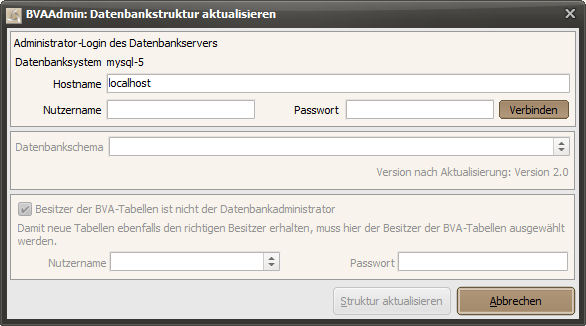 BVAAdmin: Datenbankstruktur aktualisieren